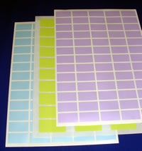 A4 Sheeted Blank Labels in a range of colours